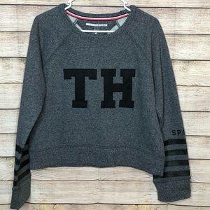 Tommy Hilfiger Gray Stylish Crop Sweatshirt Med